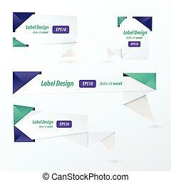 style, couleur, étiquette, 2, ensemble, origami