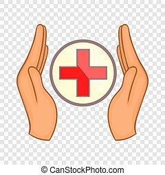 style, croix, tenant mains, icône, dessin animé