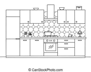 style, cuisine, croquis, furniture., vecteur, illustration
