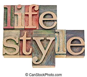 style de vie, type, letterpress