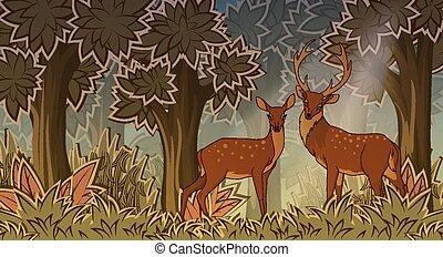 style, deux, dessin animé, deers, forêt