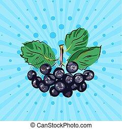 style, dots., eco, lignes, bleu, chokeberry, art., illustration., paquet, vecteur, fait, main, fond, pendre, pop