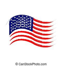 style, drapeau, amérique, vecteur, vague, grunge, illustration