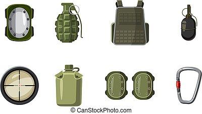 style, ensemble, équipement, militaire, dessin animé, icône