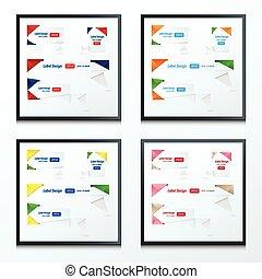 style, ensemble, étiquette, conception, 4, origami