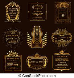 style, ensemble, art, vendange, mariage, -, deco, date, vecteur, invitation, cartes, sauver