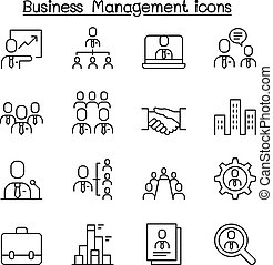 style, ensemble, business, administration, ligne mince, gestion, icône