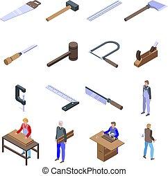 style, ensemble, charpentier, isométrique, icônes