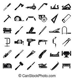 style, ensemble, charpentier, simple, construction, icône
