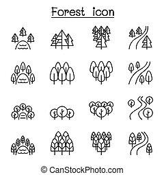 style, ensemble, forêt, rivière, parc, lac, ligne mince, paysage, icône