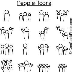 style, ensemble, gens, ligne mince, icône