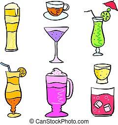 style, ensemble, griffonnage, boisson, collection, stockage
