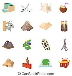 style, ensemble, icône, dessin animé, tourisme
