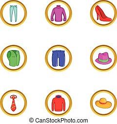 style, ensemble, moderne, vêtements, dessin animé, icône