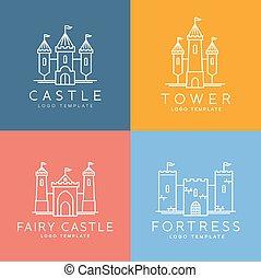style, ensemble, résumé, vecteur, gabarit, logo, ligne, château