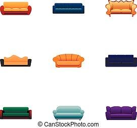 style, ensemble, sofa, moderne, dessin animé, icône