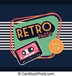 style, fête, cassette, affiche, retro