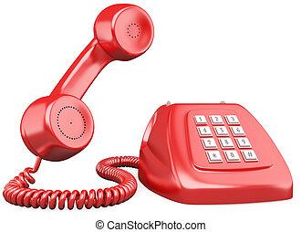 style, façonné, téléphone, vieux, rouges, 3d