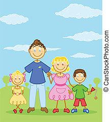 style, famille, figure, illustration, crosse, heureux