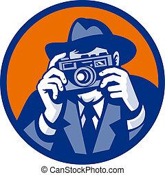style, fedora, photographe, appareil-photo slr, fait, retro, viser, chapeau
