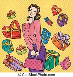 style, femme, art, cadeau, illustration, boîtes, vecteur, pop