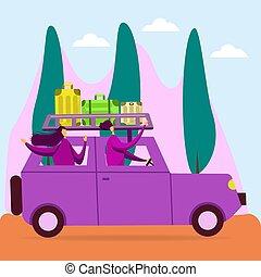 style., femme, couple, mondiale, suv, homme, lune miel, voiture., concept, heureux, paysages, aventures, ensemble., tourisme, voyage, vacation., asseoir, amis, plat, voyage
