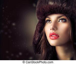 style, femme, hiver, jeune, hat., beau, fourrure