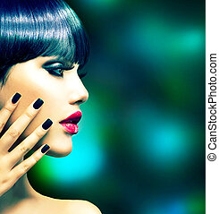 style, femme, mode, portrait., vogue, modèle, profil