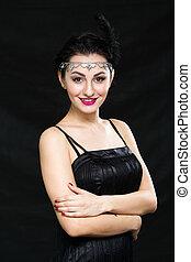 style, femme, vendange, portrait., retro, girl