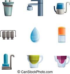 style, filtration, ensemble, moderne, eau, dessin animé, icône