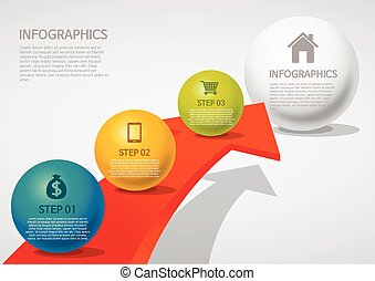 style, flèche, sphère, -, info-graphic