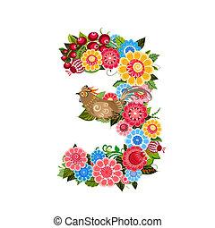 style, fleur, khokhloma, nombre, oiseaux