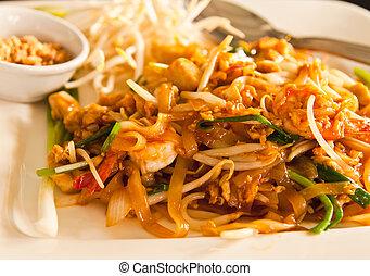 style, frais, thaï, thaïlande, nouille, tampon, crevette
