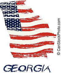 style, géorgie, grunge, map., drapeau américain, vecteur