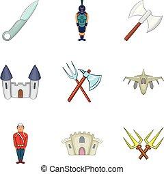 style, gens, ensemble, icônes, uniforme, dessin animé