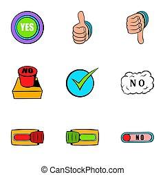 style, geste, oui, dessin animé, ensemble, icônes