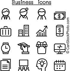 style, gestion, business, ensemble, ligne mince, icône