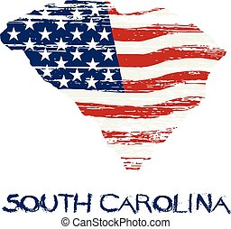 style, grunge, map., drapeau, américain, vecteur, caroline sud