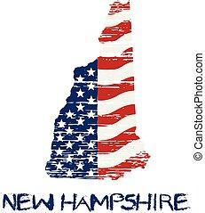 style, grunge, map., drapeau, hampshire, américain, vecteur, nouveau