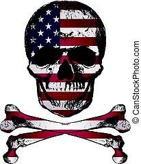 style, grunge, usa, crâne, vendange, main, drapeau, dessiné, texture.