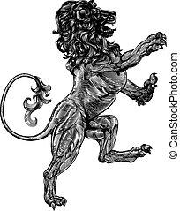 style, héraldique, lion, woodblock