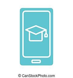 style, icône, chapeau, remise de diplomes, smartphone, silhouette
