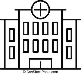 style, icône, hôpital, bâtiment, contour