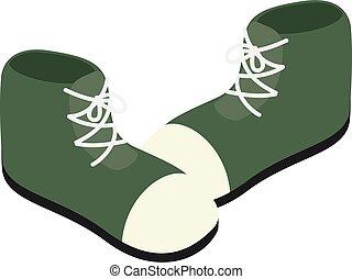 style, icône, isométrique, dessin animé, chaussures