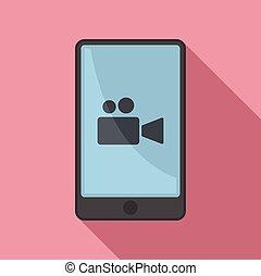style, icône, plat, enregistrement, vidéo, mode