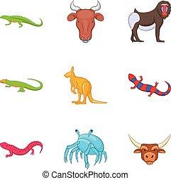 style, icônes, ensemble, animal, australien, dessin animé
