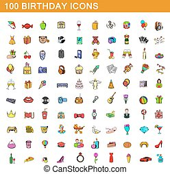style, icônes, ensemble, anniversaire, 100, dessin animé