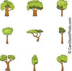style, icônes, ensemble, arbre, vert, dessin animé