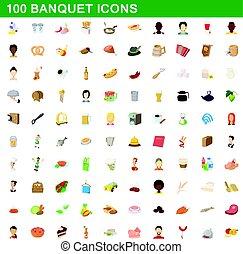 style, icônes, ensemble, banquet, 100, dessin animé