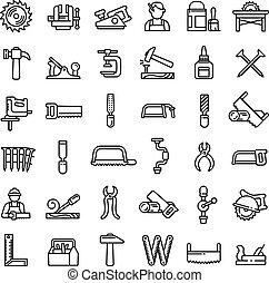 style, icônes, ensemble, charpentier, contour
